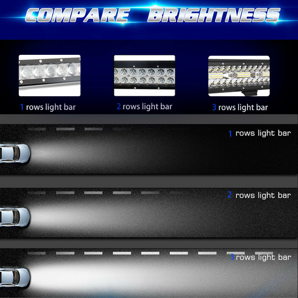 12Inch LED Light Bar 1008W Spot Flood OffRoad Truck For JEEP Ford SUV UTE 6000K 7