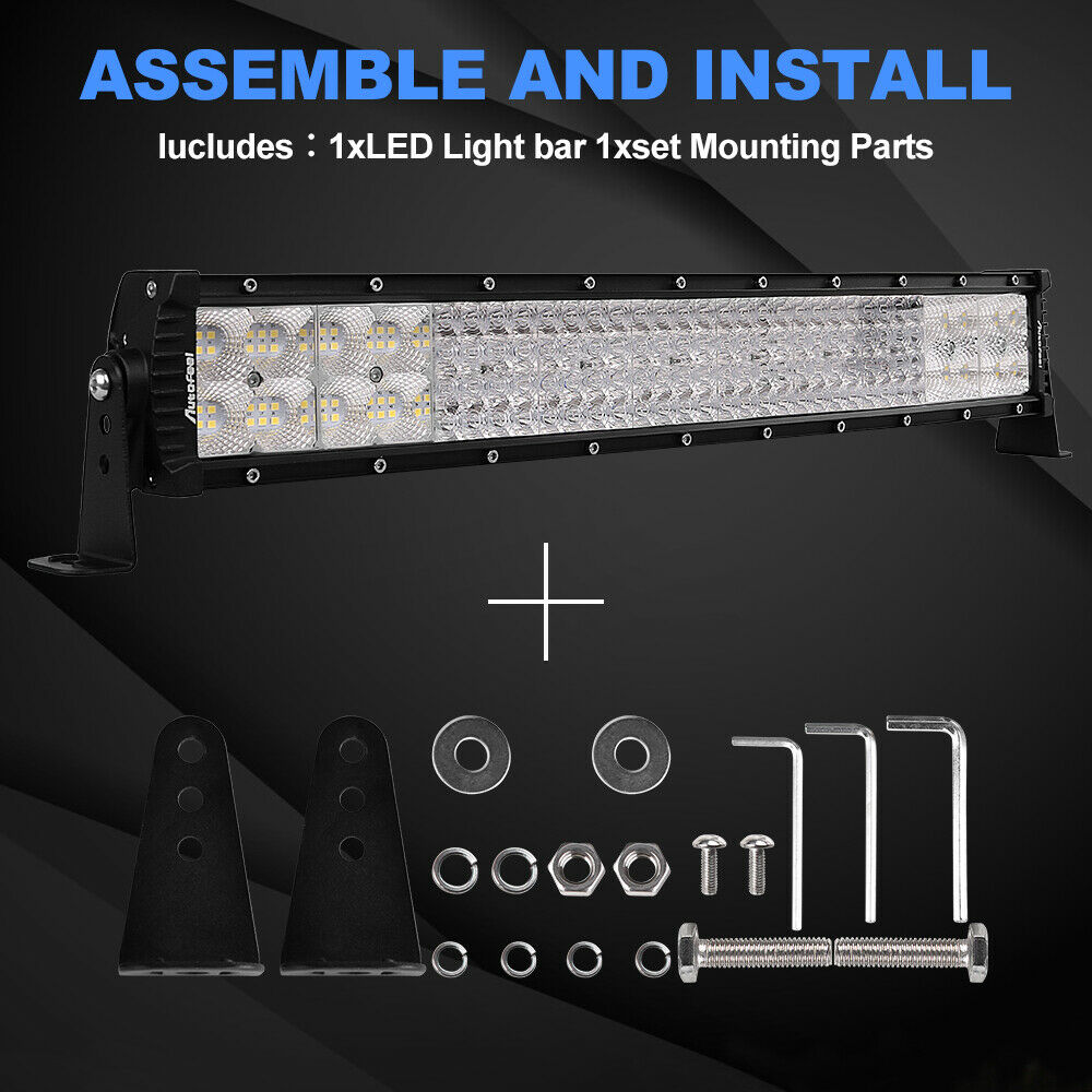 Autofeel 22 inch 3072w Led Light Bar Combo Spot Flood Boat For JEEP Truck SUV US 3