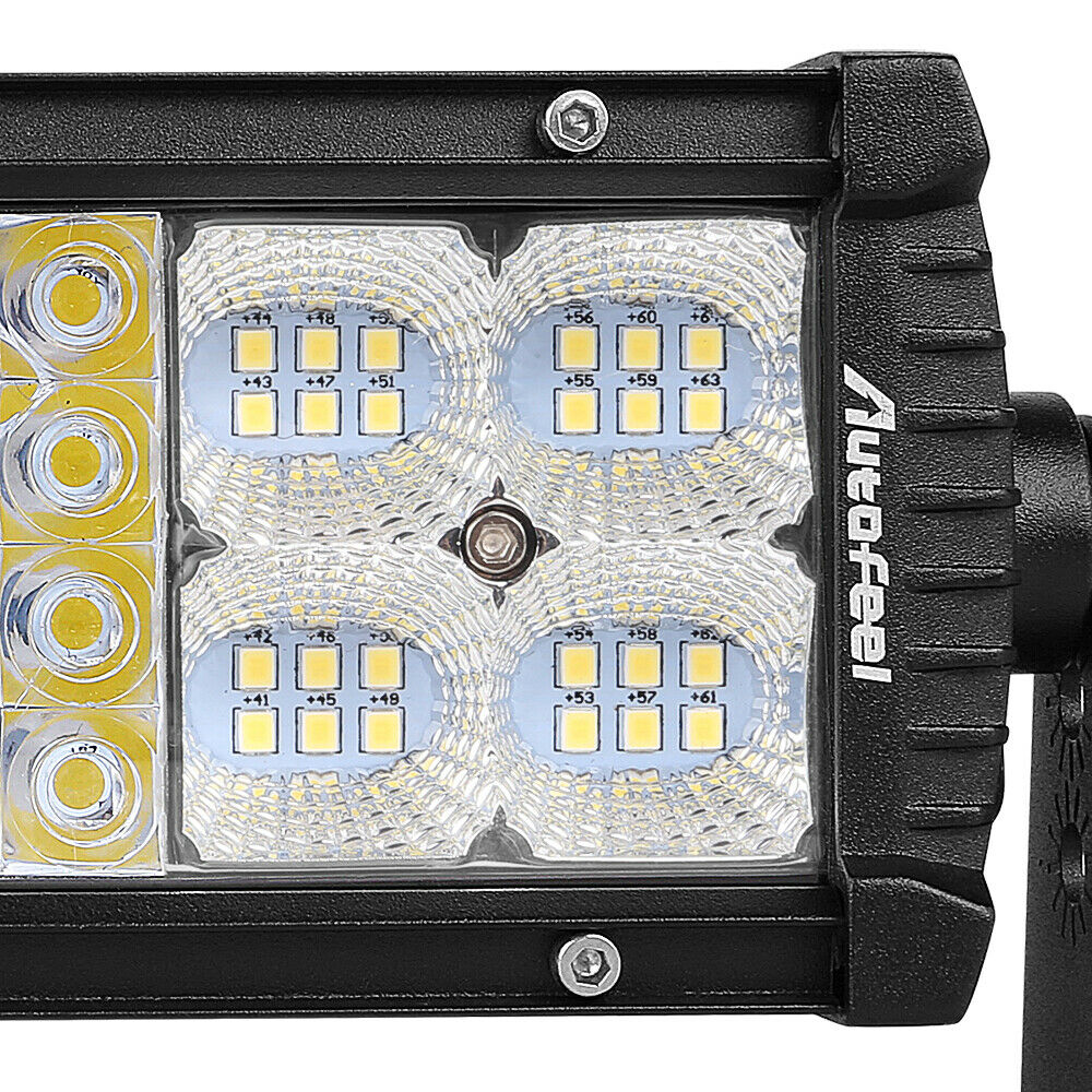 Quad-Row 7inch 768W LED Light Bar Combo Offroad Driving Lamp 4WD Tractor 6'' 9 4